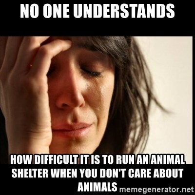 First World Problems - No one understands how difficult it is to run an animal shelter when you don't care about animals