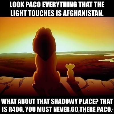 Simba - LOOK PACO EVERYTHING THAT THE LIGHT TOUCHES IS AFGHANISTAN. WHAT ABOUT THAT SHADOWY PLACE? THAT IS R4OG, YOU MUST NEVER GO THERE PACO.