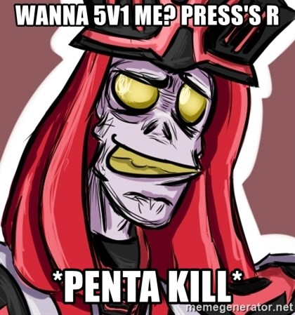 Troll Karthus - Wanna 5v1 me? press's R *PENTA KILL*