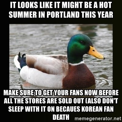 good advice duck - It looks like it might be a hot summer in portland this year make sure to get your fans now before all the stores are sold out (also don't sleep with it on becaues korean fan death