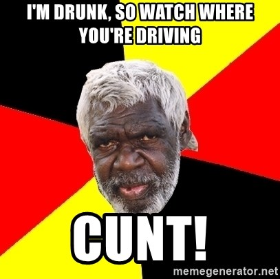 Abo - I'm drunk, so Watch where you're driving cunt!