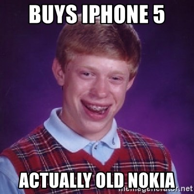 Bad Luck Brian - BUYS IPHONE 5  ACTUALLY OLD NOKIA