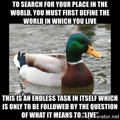 "advice mallard - To search for your place in the world, you must first define the world in which you live This is an endless task in itself which is only to be followed by the question of what it means to ""live"""
