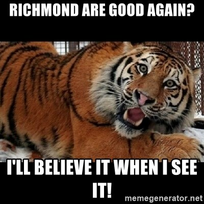 Sarcasm Tiger - RICHMOND ARE GOOD AGAIN? I'LL BELIEVE IT WHEN I SEE IT!