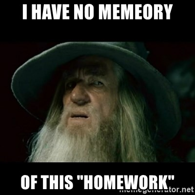 "no memory gandalf - i have no memeory of this ""homework"""