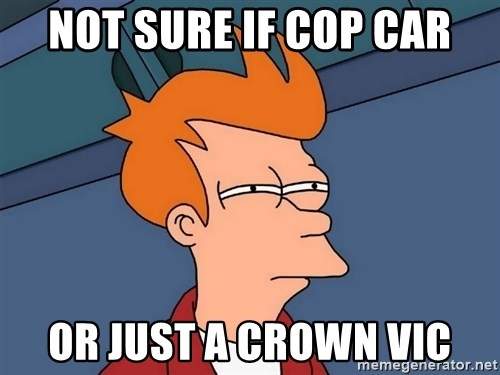 Futurama Fry - not sure if cop car or just a crown vic