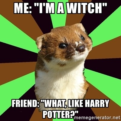 "Witchcraft Weasel - Me: ""I'm a witch"" Friend: ""What, like Harry Potter?"""