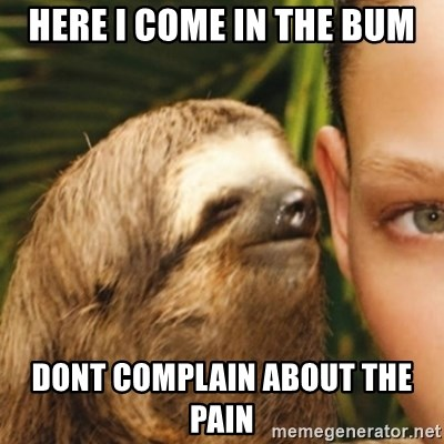 Whispering sloth - here i come in the bum dont complain about the pain