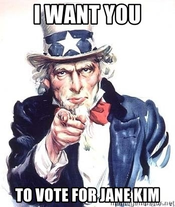 Uncle Sam - i want you to vote for jane kim