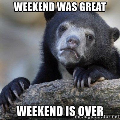 Confession Bear - WEEKEND WAS GREAT WEEKEND IS OVER