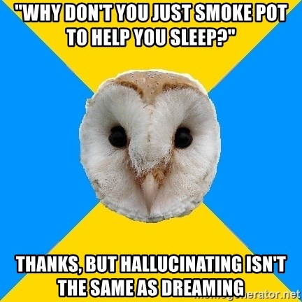 """Bipolar Owl - """"why don't you just smoke pot to help you sleep?"""" Thanks, but hallucinating isn't the same as dreaming"""