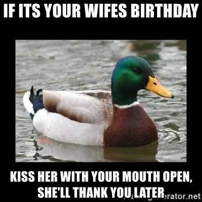 advice mallard - If its your wifes birthday kiss her with your mouth open, she'll thank you later