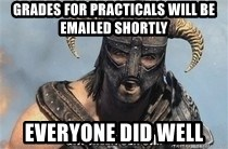 Skyrim Meme Generator - Grades for practicals will be emailed shortly everyone did well