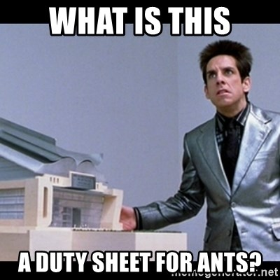 Zoolander for Ants - What is this A duty sheet for ants?