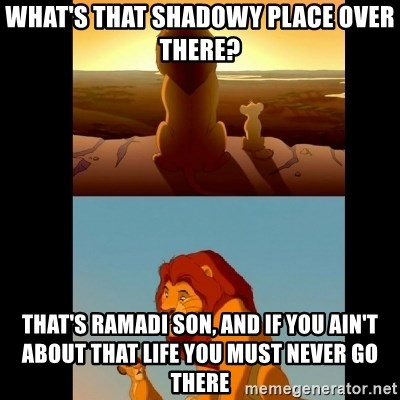 Lion King Shadowy Place - What's that shadowy place over there? That's ramadi son, and if you ain't about that life you must never go there