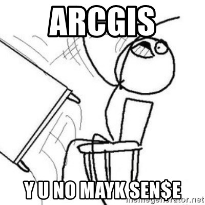 Flip table meme - Arcgis Y U No mayk seN$e