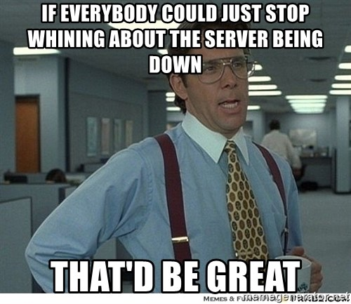 That would be great - If everybody could just stop whining about the server being down that'd be great