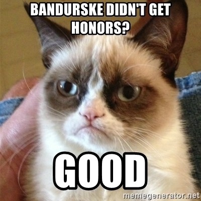 Grumpy Cat  - Bandurske didn't get honors? Good