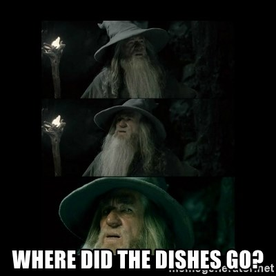 Confused Gandalf -  Where did the dishes go?