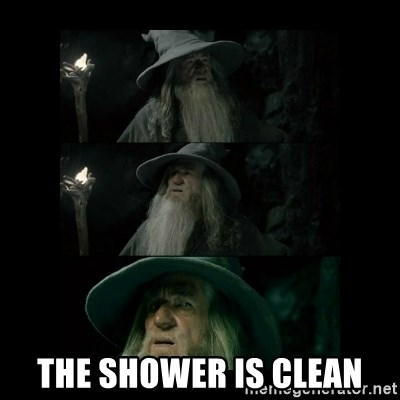 Confused Gandalf -  The shower is clean