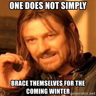 One Does Not Simply - One does not simply brace themselves for the coming winter
