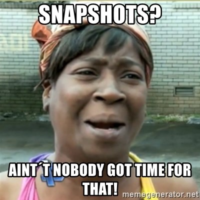 Ain't Nobody got time fo that - Snapshots? AINT´T NOBODY GOT TIME FOR THAT!