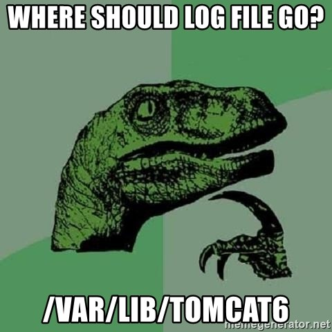 Philosoraptor - where should log file go? /var/lib/tomcat6