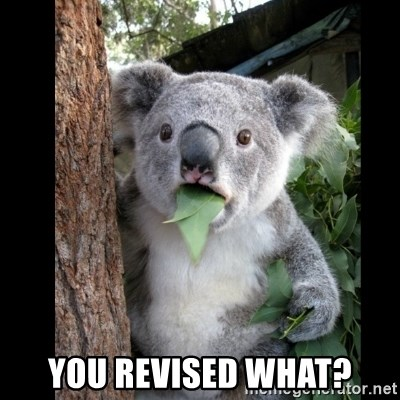 Koala can't believe it -  you revised what?