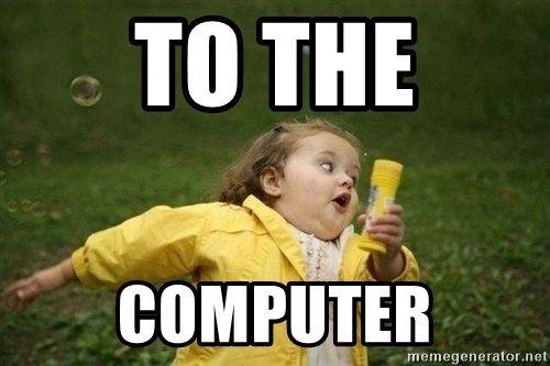 Little girl running away - TO THE COMPUTER