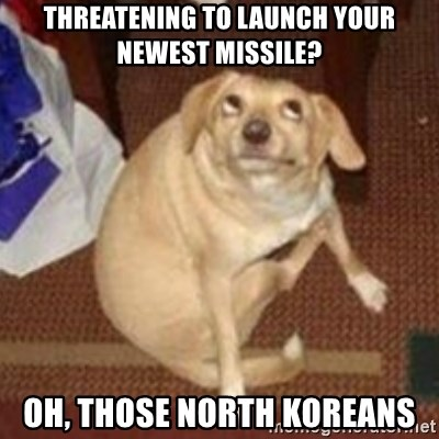 Oh You Dog - THREATENING TO LAUNCH YOUR NEWEST MISSILE? OH, THOSE NORTH KOREANS