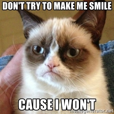 Grumpy Cat  - Don't try to make me smile Cause I won't