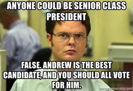 False guy - anyone could be senior class president false. andrew is the best candidate, and you should all vote for him.