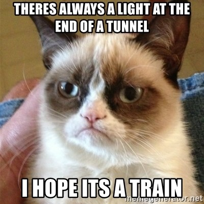 Grumpy Cat  - theres always a light at the end of a tunnel I hope its a train