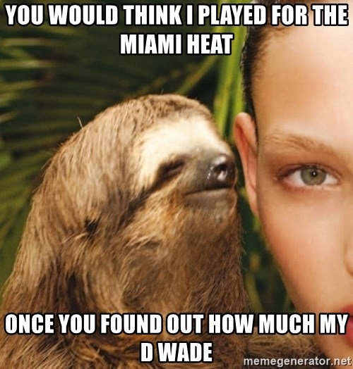 The Rape Sloth - You would think I played For the miami heat Once you found out how much my d wade