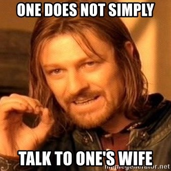 One Does Not Simply - One does not simply talk to one's wife