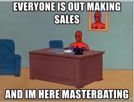 spiderman masterbating - everyone is out making sales and im here masterbating
