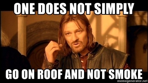 Lord Of The Rings Boromir One Does Not Simply Mordor - One does not simply Go on roof and not smoke