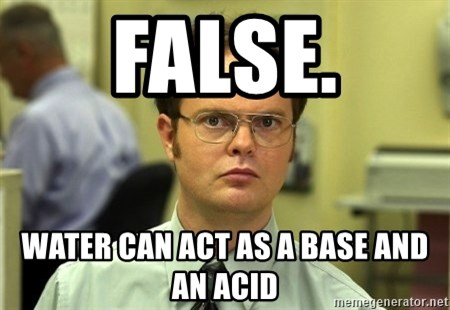 False guy - FALSE. WATER CAN ACT AS A BASE AND AN ACID