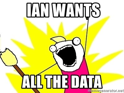 X ALL THE THINGS -  ian wants all the data