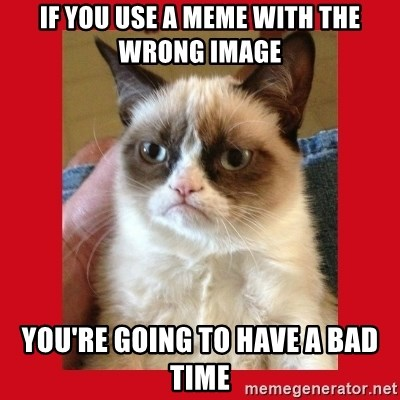 No cat - if you use a meme with the wrong image you're going to have a bad time