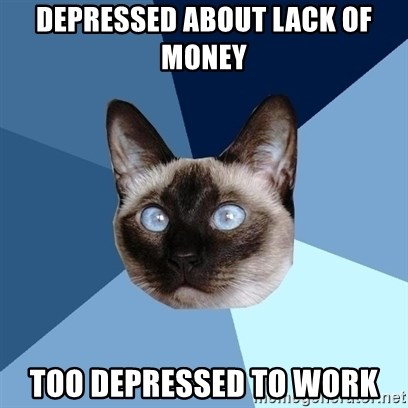 Chronic Illness Cat - Depressed about lack of money too depressed to work