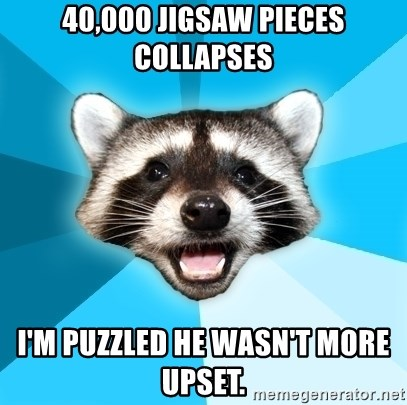 Lame Pun Coon - 40,000 Jigsaw Pieces Collapses I'm puzzled he wasn't more upset.