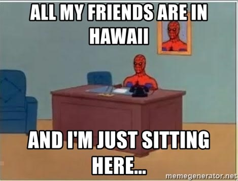 Spiderman Desk - all my friends are in hawaii and i'm just sitting here...