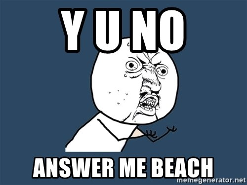 Y U No - y u no answer me beach