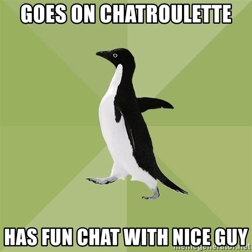 Socially Average Penguin - goes on chatroulette has fun chat with nice guy