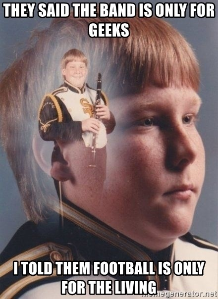 PTSD Clarinet Boy - they said the band is only for geeks i told them football is only for the living