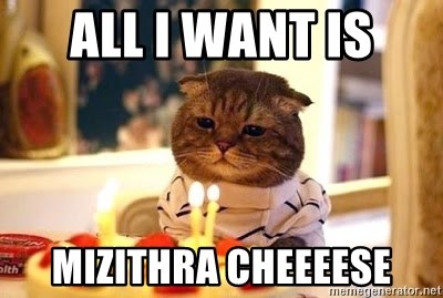 Birthday Cat - ALL I WANT is mizithra cheeeese
