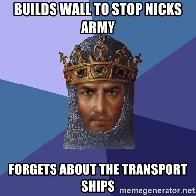 Age Of Empires - builds wall to stop nicks army forgets about the transport ships