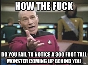 Picard Wtf - HOW THE FUCK DO YOU FAIL TO NOTICE A 300 FOOT TALL MONSTER COMING UP BEHIND YOU