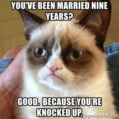 Grumpy Cat  - You've been married nine years? Good.  Because you're knocked up.